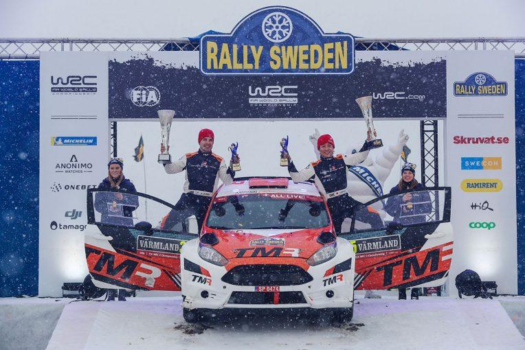 WRC第2戦スウェーデンのWRC2クラスを制した勝田貴元(フォード・フィエスタR5)