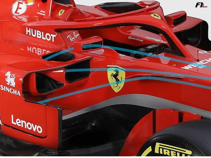 F1 | 【F1新車分析】フェラーリSF71H:流行元となったサイドポッドはさらに洗練。バックミラーにも一工夫