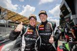 レース2のGT3クラスで3位を獲得した63号車ウラカンGT3の濱口弘とマルコ・マペッリ