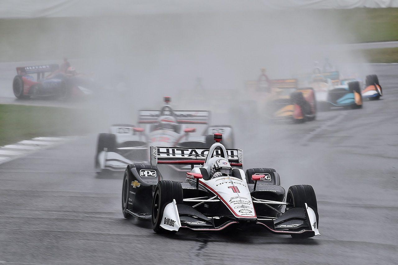 インディカー第4戦アラバマは降雨のため順延。翌日に23周目から再開へ