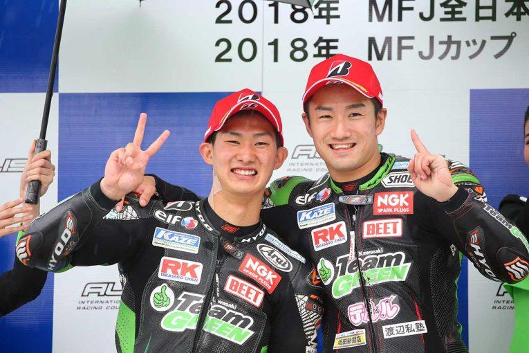 カワサキのホームコースでワンツーフィニッシュという最高の結果を残した渡辺一馬と松崎