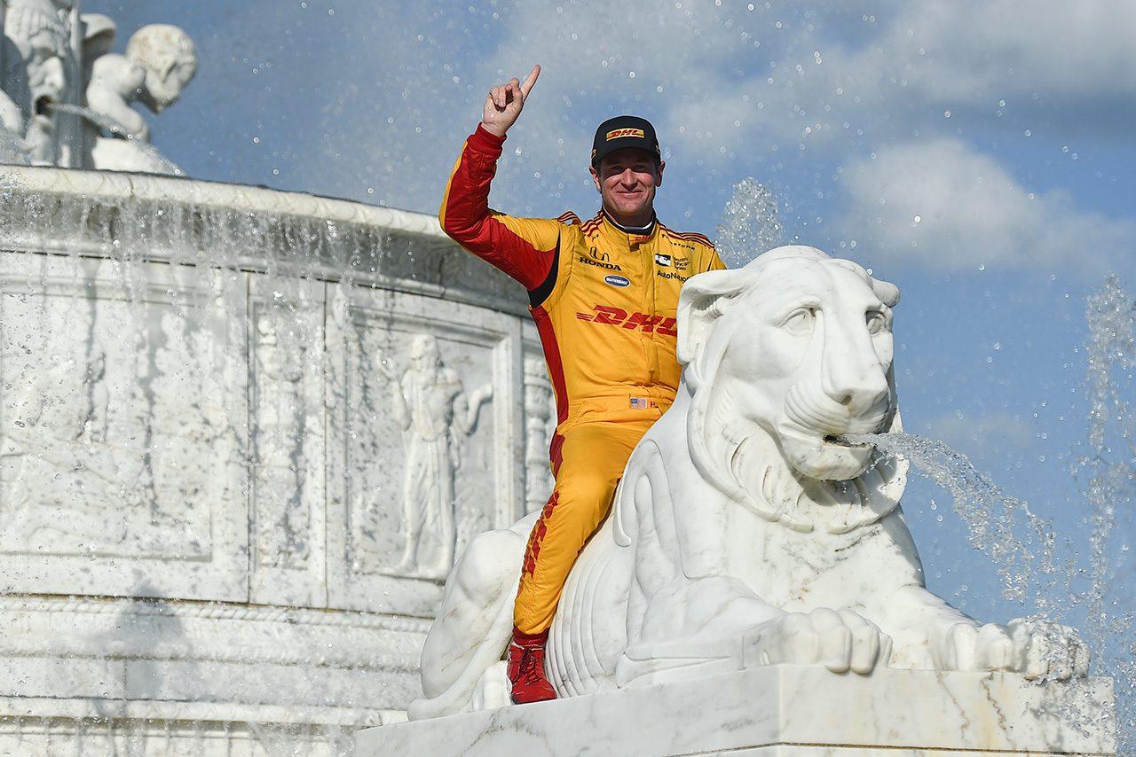 インディ第8戦:驚速3ストップ作戦でハンター-レイが2015年以来の勝利。琢磨は追い上げならず