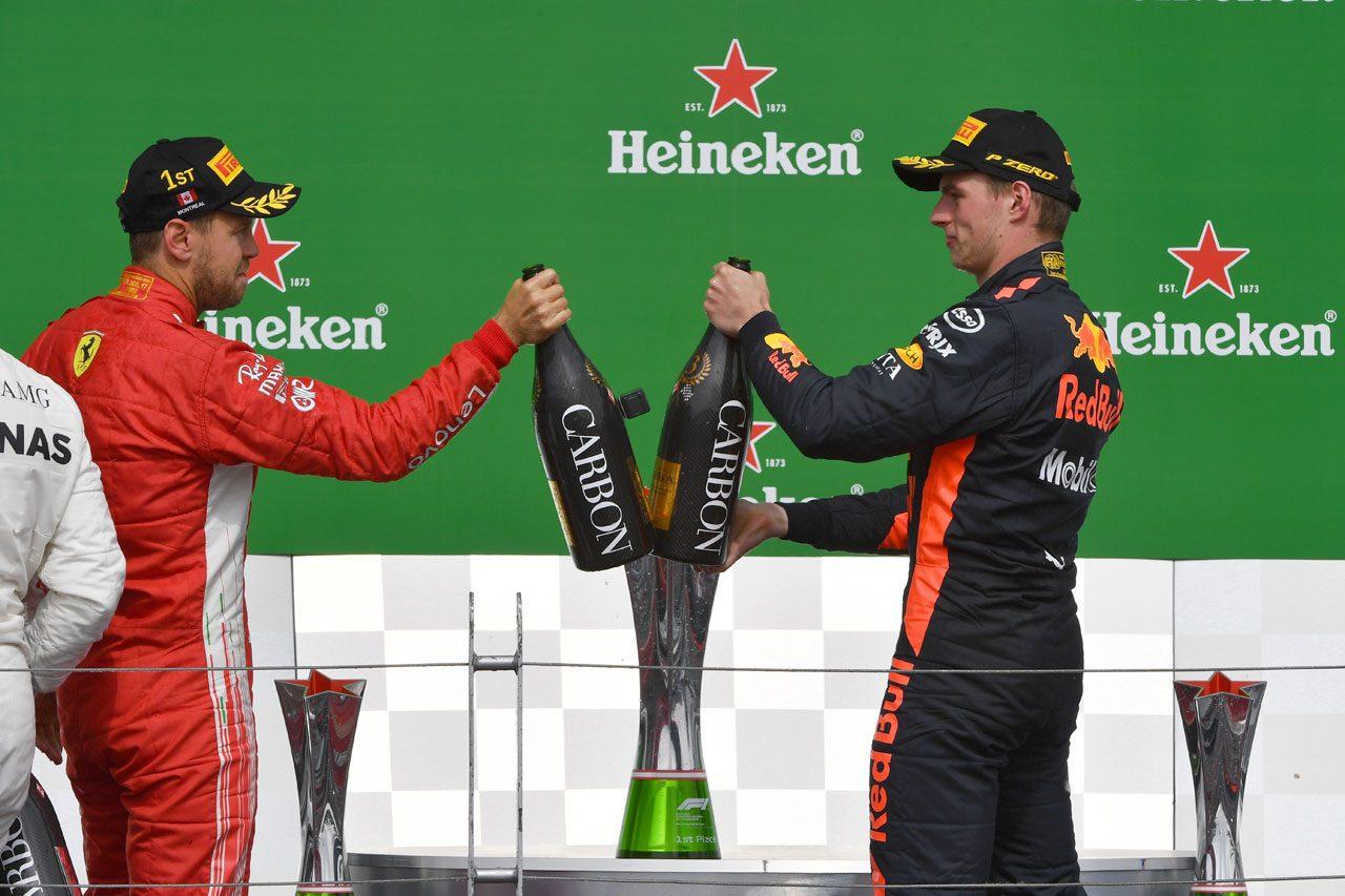 2018年F1カナダGP 優勝したセバスチャン・ベッテルと3位のマックス・フェルスタッペン