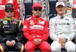 F1   2012年F1ブラジルGP ロータスのキミ・ライコネン、フェラーリのフェルナンド・アロンソ、メルセデスのミハエル・シューマッハー