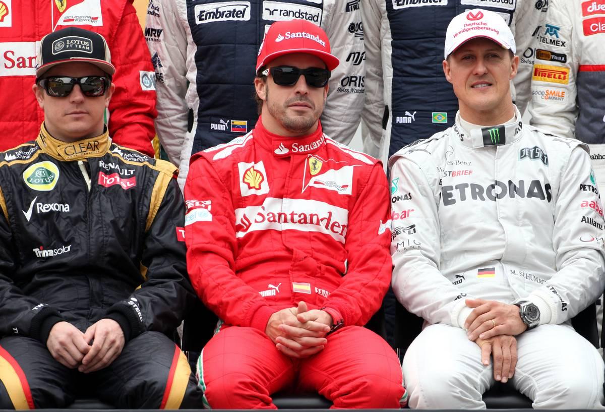 2012年F1ブラジルGP ロータスのキミ・ライコネン、フェラーリのフェルナンド・アロンソ、メルセデスのミハエル・シューマッハー
