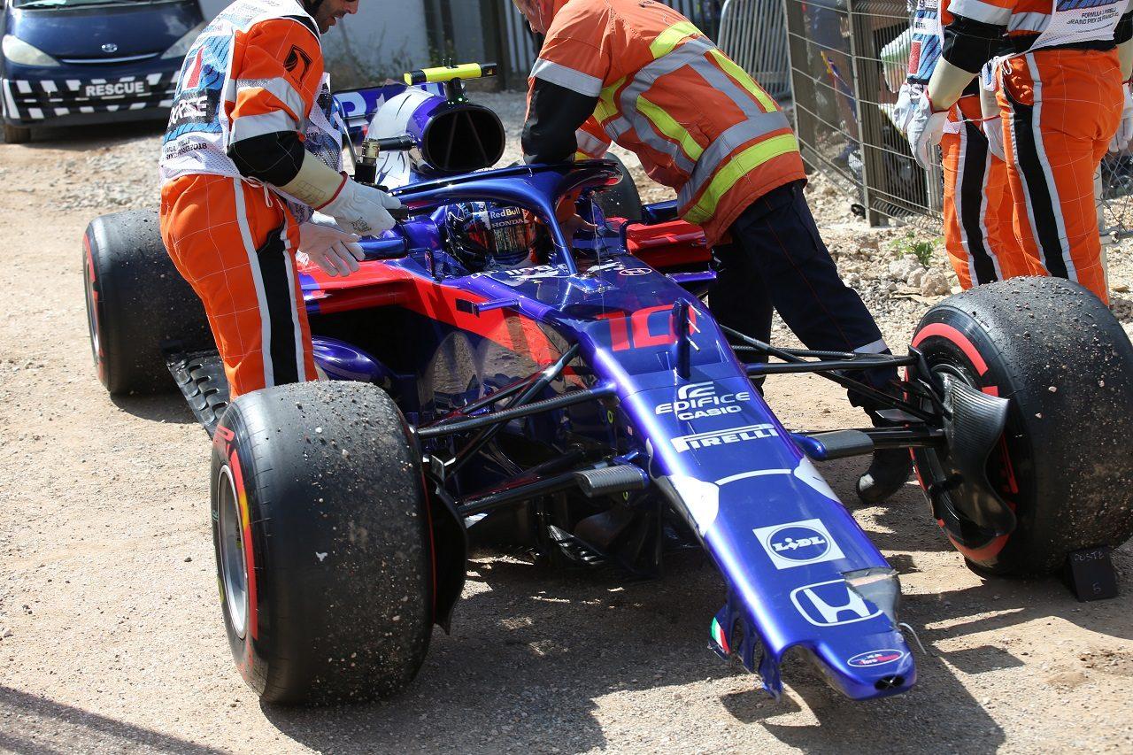 2018年F1第8戦フランスGP ピエール・ガスリー(トロロッソ・ホンダ)が決勝1周目にクラッシュし、リタイア