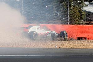 2018年F1第10戦イギリスGP FP1でクラッシュを喫したロマン・グロージャン