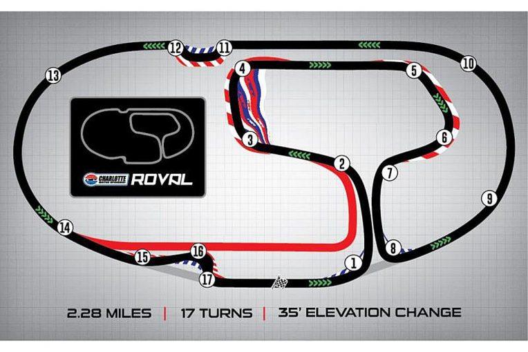 NASCAR第29戦シャーロットのコースレイアウト。NASCARのチャンピオン決定戦でロードコース戦が組み込まれるのは史上初
