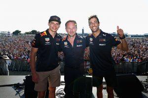 F1第10戦イギリス:マックス・フェルスタッペン、クリスチャン・ホーナー、ダニエル・リカルド