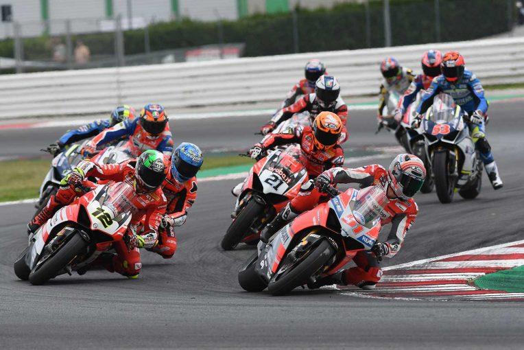 MotoGP | ドゥカティの世界的ミーティングイベントでMotoGPライダーとSBKライダーによるエキシビジョンレースが開催