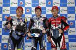 予選会見に臨んだ野左根 航汰(YAMAHA FACTORY RACING TEAM #5)、中須賀克行(YAMAHA FACTORY RACING TEAM)、高橋巧(Team HRC)