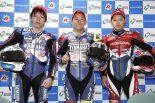 決勝会見に臨んだ中須賀克行(YAMAHA FACTORY RACING TEAM)、野左根航汰(YAMAHA FACTORY RACING TEAM #5)、高橋巧(Team HRC)
