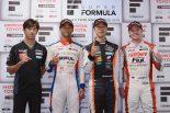 スーパーフォーミュラ第5戦で表彰台に上った3選手と優勝チーム監督の立川氏