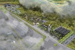 モータースポーツビレッジの完成イメージ。左手前側が富士スピードウェイ
