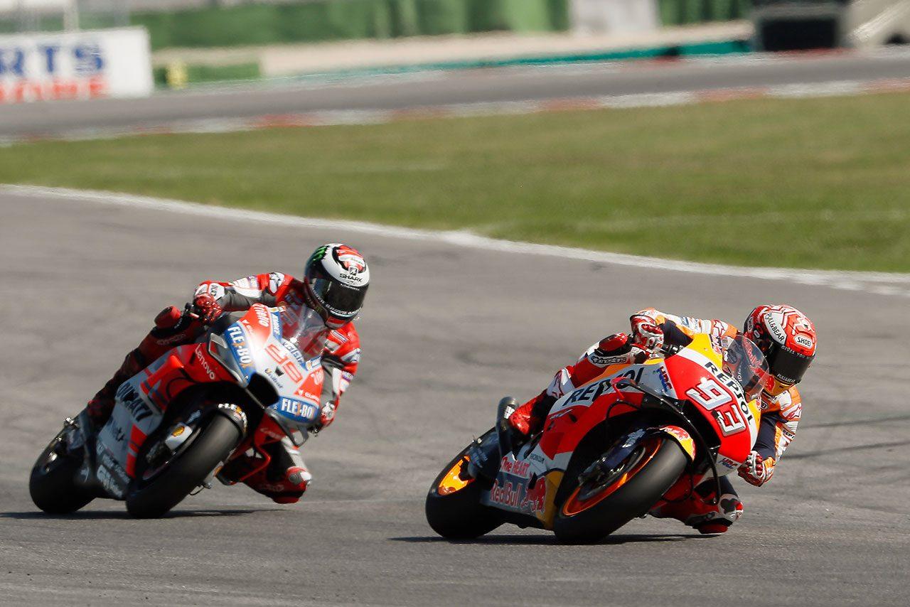 MotoGP:マルケス、ロレンソと奪い合った2位。サンマリノGPは「ドヴィが速かったから2位を目標にした」