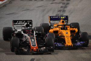 2018年F1第15戦シンガポールGP ロマン・グロージャン、ストフェル・バンドーン