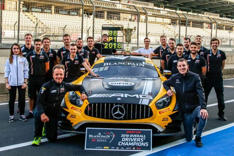 2018ブランパンGTシリーズ・スプリントカップの総合ドライバーズタイトルを獲得したマイケル・メドウズ(右)、ラファエル・マルチェッロ(右)