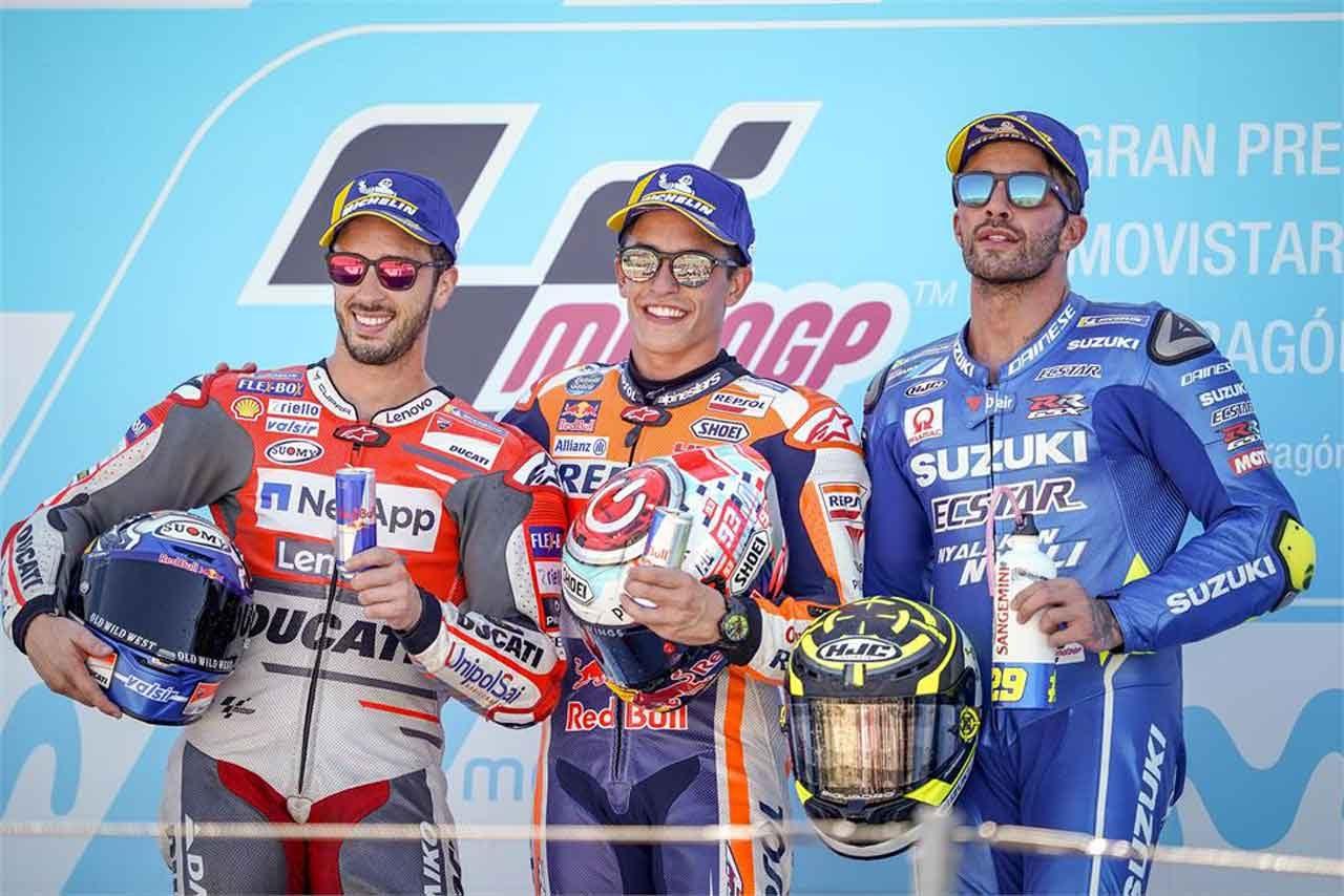 MotoGP:マルケス、ソフトタイヤを選んだのは「ギャンブルだった」/アラゴンGP決勝トップ3コメント