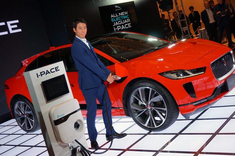 錦織圭選手が登壇したジャガー初の電気自動車(EV)であるエレクトリック・パフォーマンスSUV「I-PACE(アイペイス)」発表会