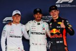 2018年F1第17戦日本GP予選 ポールのルイス・ハミルトン、2番手バルテリ・ボッタス、3番手マックス・フェルスタッペン