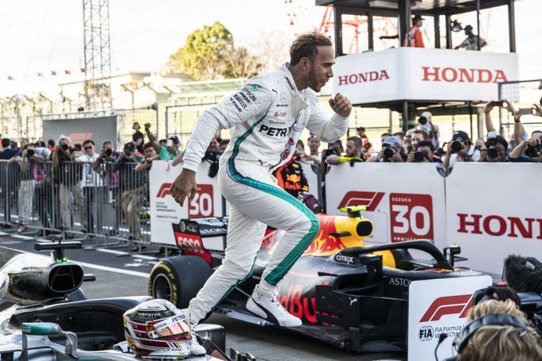 F1   ハミルトン今季9勝目「フェラーリの失速に驚いているが、それは僕らには関係ない。タイトルに向けて一戦一戦に集中するだけ」:F1日本GP日曜