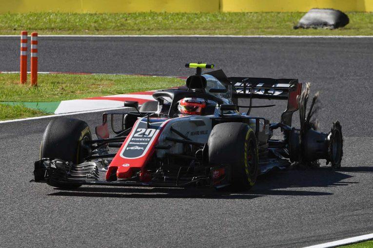 F1   マグヌッセン「ルクレールと接触しパンク。マシンにダメージを負いリタイアを強いられた」/ハース F1日本GP日曜