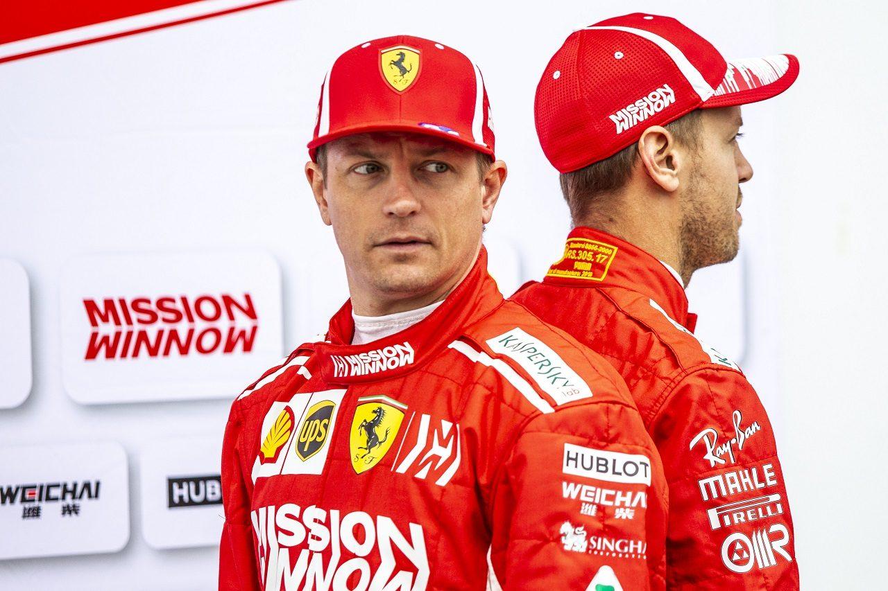 2018年F1第18戦アメリカGP キミ・ライコネンとセバスチャン・ベッテル(フェラーリ)