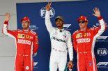 2018年F1第18戦アメリカGP 予選 ポール:ルイス・ハミルトン、2番手:セバスチャン・ベッテル、3番手:キミ・ライコネン