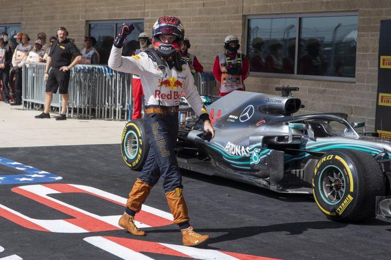 F1 | フェルスタッペン、18番グリッドから2位表彰台「プッシュし続けたから、靴が壊れちゃったよ!」:F1アメリカGP日曜