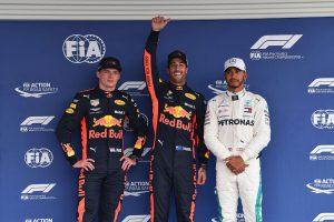 2018年F1第19戦メキシコGP予選 PP:ダニエル・リカルド、2番手マックス・フェルスタッペン、3番手ルイス・ハミルトン