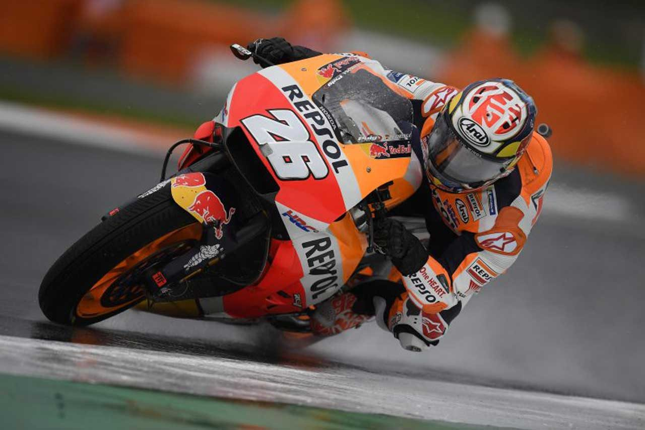 MotoGPバレンシアGP初日:マルケスがヘビーウエットで首位。ドゥカティ勢が上位進出