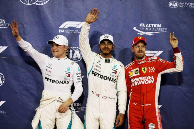 2018年F1第21戦アブダビGP 予選 ルイス・ハミルトン、バルテリ・ボッタス、セバスチャン・ベッテル