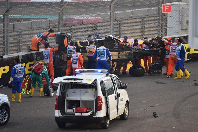 2018年F1第21戦アブダビGP ロマン・グロージャンと接触したニコ・ヒュルケンベルグが大クラッシュ