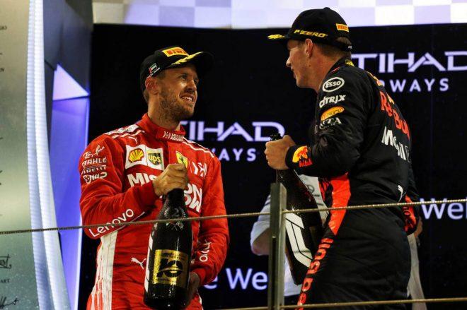 2018年F1第21戦アブダビGP セバスチャン・ベッテル、マックス・フェルスタッペン