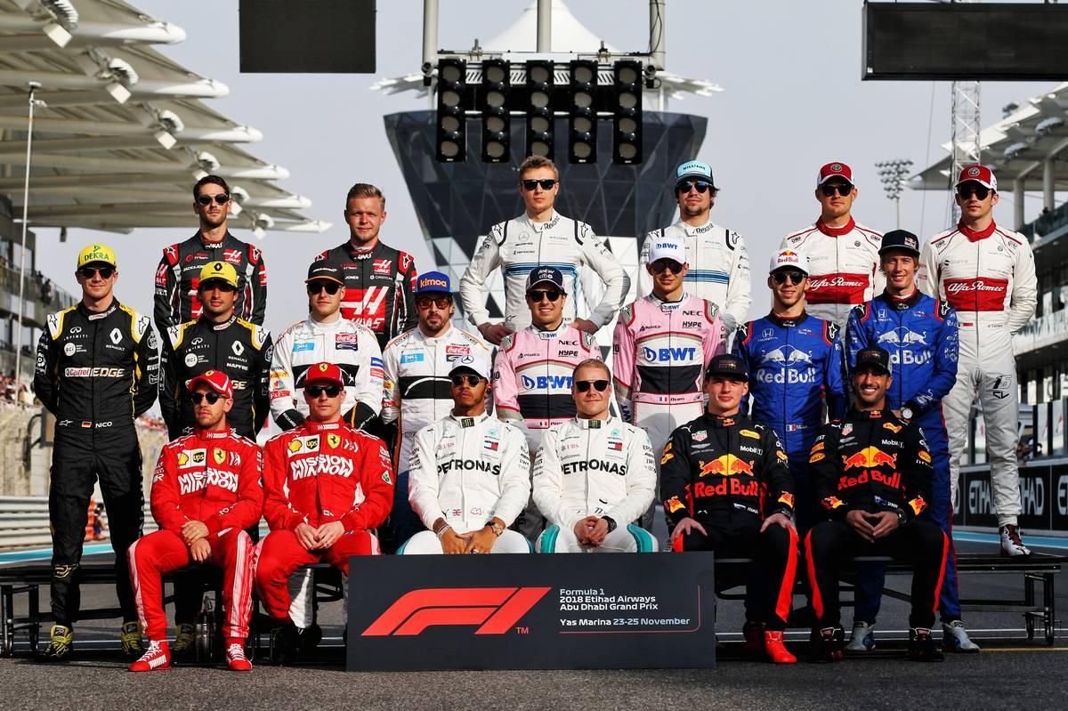 2018年F1第21戦アブダビGPドライバー集合写真