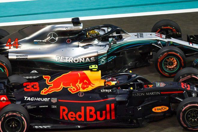 2018年F1第21戦アブダビGP ルイス・ハミルトンとマックス・フェルスタッペンのバトル