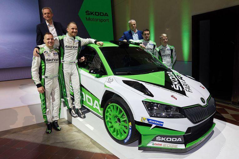 ラリー/WRC | WRC2で連覇続けるシュコダ、フロント一新の改良型ファビアR5発表。2019年下半期に公認取得