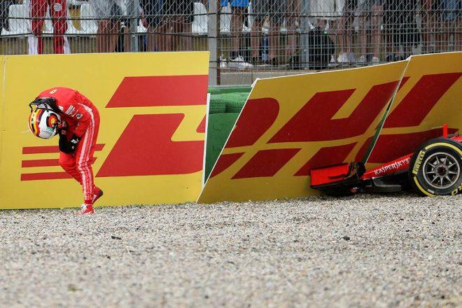 2018年F1ドイツGPでまさかのクラッシュを喫してしまったセバスチャン・ベッテル