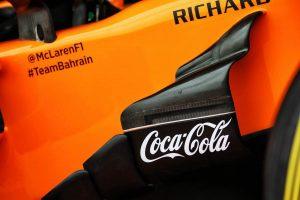 2018年F1第18戦アメリカGPでマクラーレンのマシンに掲載されたコカ・コーラのロゴ