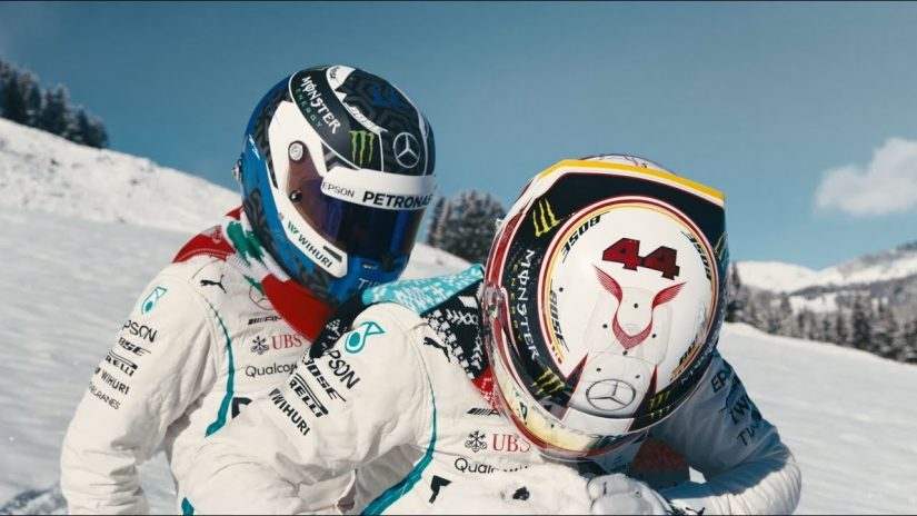 F1 | 【動画】ハミルトンとボッタスらしき人物が冬を満喫。メルセデスAMGがビデオシリーズ公開中