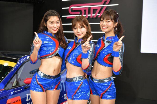 2019年のSUBARU BRZ GT-GALS BREEZEを務める江藤菜摘さん、あやきいくさん、津田知美さん(左から)