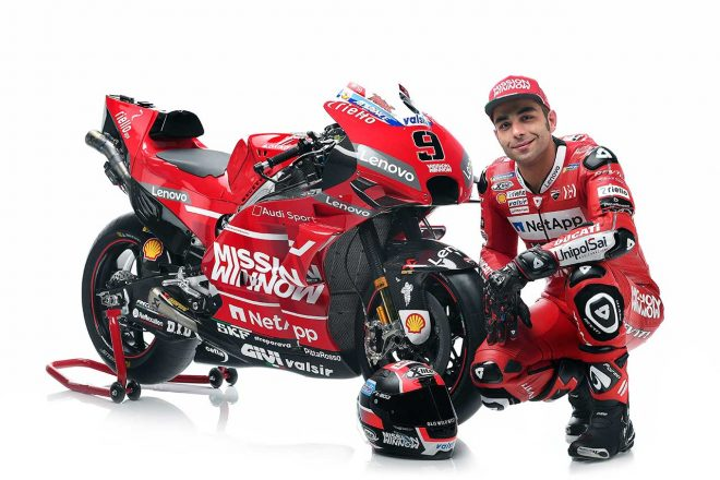 MotoGP参戦8年目にしてファクトリーライダーとなったペトルッチ。発表会ではやや緊張気味の面持ちを見せていた