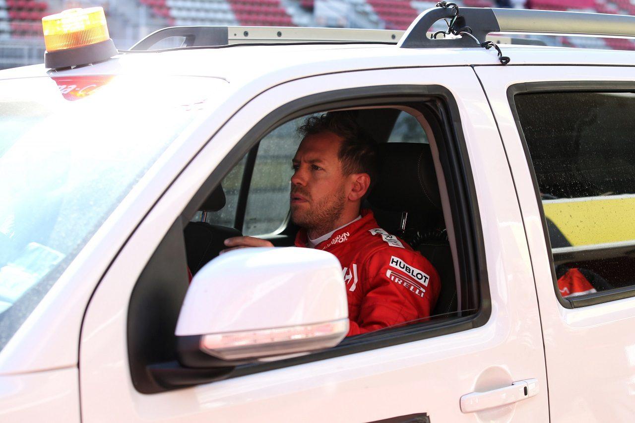 2019年第2回F1テスト2日目 セバスチャン・ベッテル(フェラーリ)がマシントラブルでクラッシュ