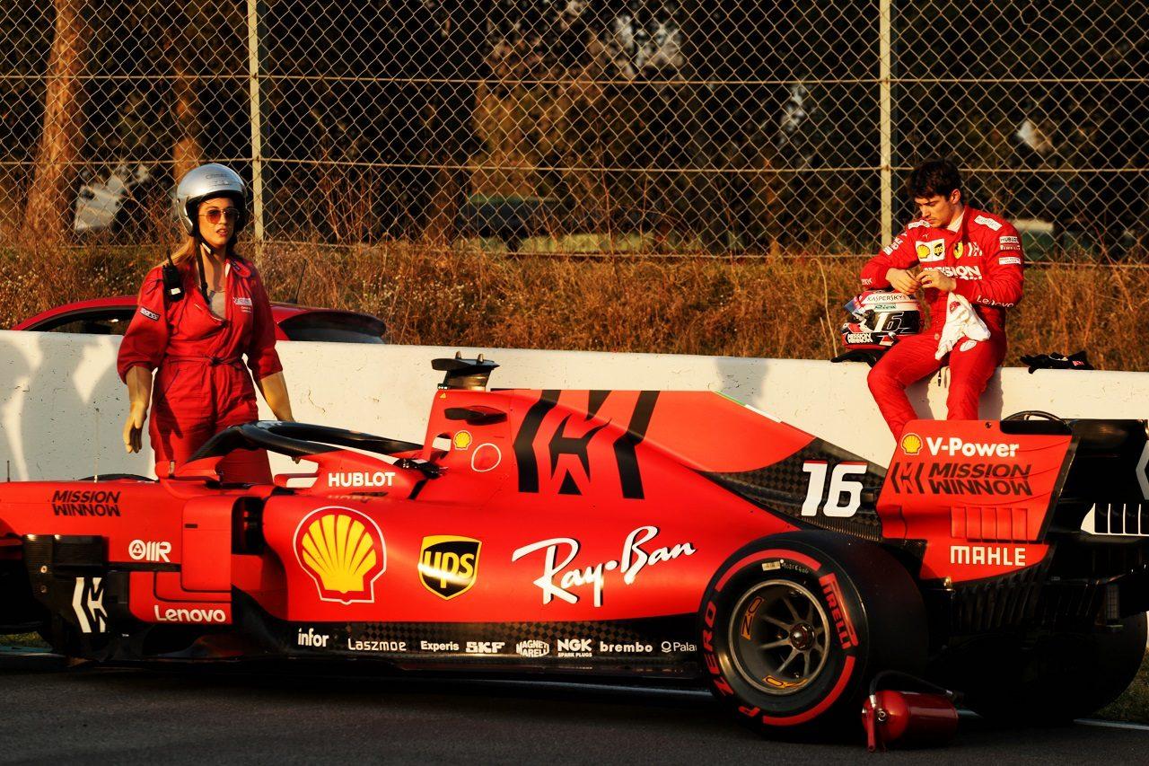 2019年第2回F1テスト3日目 シャルル・ルクレール(フェラーリ)がトラブルでストップ