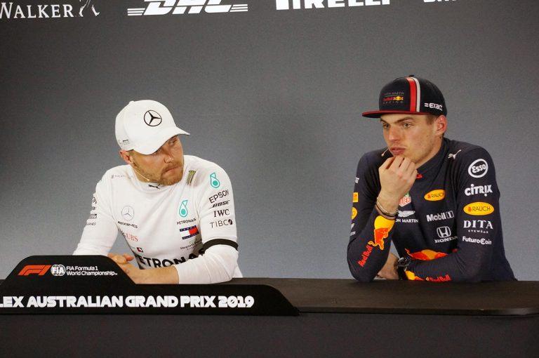 F1   3位表彰台のフェルスタッペン、レース後のFIA会見でホンダPUを称賛。「昨年に比べて最高速が伸びて、最高に気持ちよかった」