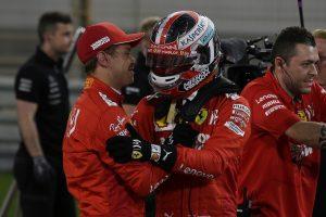 F1 | ルクレール、ベッテルに0.3秒差をつけ初ポール「偉大なチームメイトに勝てて最高にうれしい。決勝でも首位を守りたい」:フェラーリ F1バーレーンGP土曜