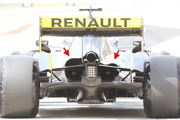 F1 | F1バーレーンGP技術解説(1):ルノーは熱対策に苦戦か。左右で異なるリヤエンド開口部をテスト