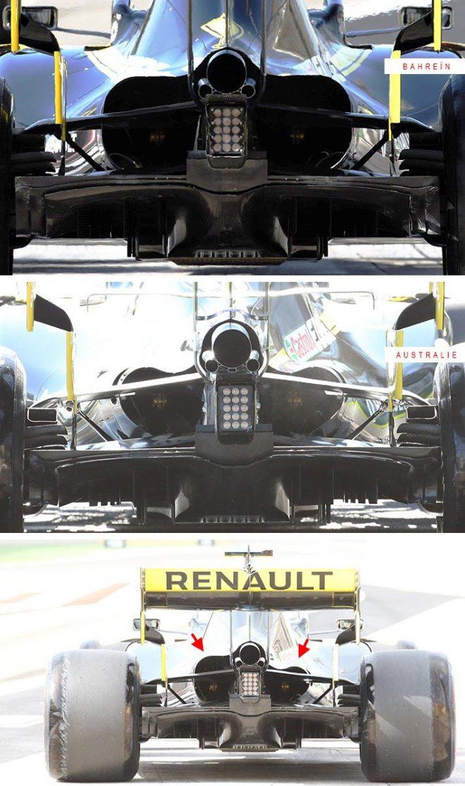 F1バーレーンGP技術解説(1):ルノーは熱対策に苦戦か。左右で異なるリヤエンド開口部をテスト