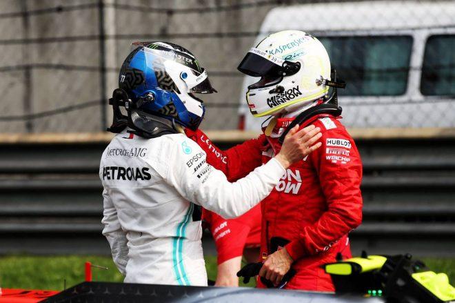 2019年F1第3戦中国GP PPを獲得したバルテリ・ボッタス(メルセデス)、3番手のセバスチャン・ベッテル(フェラーリ)