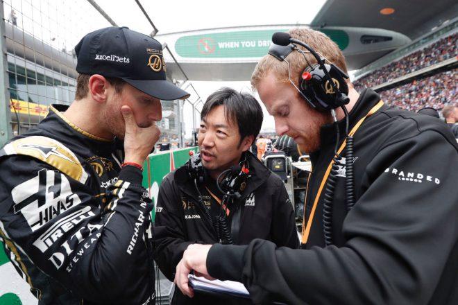 2019年F1第3戦中国GP ハースの小松礼雄チーフエンジニアとロマン・グロージャン